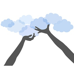 People hands hold up cloud computing vector