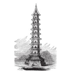 Porcelain tower vintage engraving vector