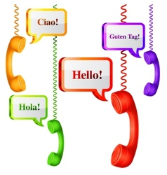 Telephone handset with talk bubbles vector