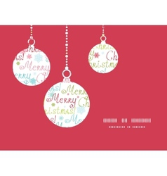 Merry christmas text holiday ornaments silhouettes vector
