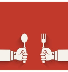 Menu red background hands with fork and spoon vector