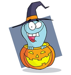 Happy blue ghost in a carved halloween pumpkin vector