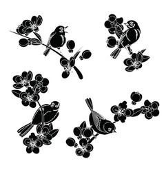 Birds on flowering branches vector
