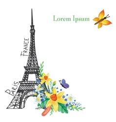 Paris spring cardeiffel towerwatercolor flowers vector