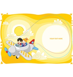 Kids fly by plane with banner vector