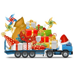 Trailer with christmas gifts vector