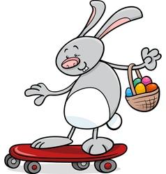 Easter bunny on skateboard cartoon vector