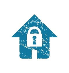 Grunge locked house icon vector