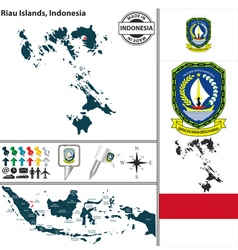 Map of riau islands vector