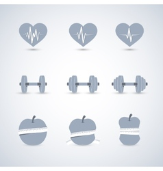 Fitness exercises progress icons set vector