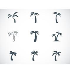 Black palm icons set vector