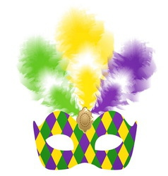 Venetian carnival mask with colorful feathers vector