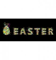 Floral easter egg on black vector