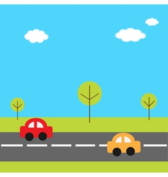 Background with grass trees road and cartoon cars vector