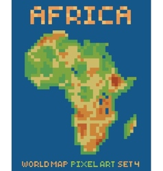 Pixel art style of africa physical world map vector