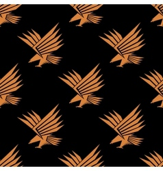 Seamless pattern of a stylized flying eagle vector