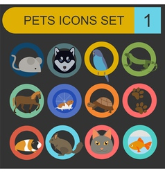 Domestic pets and vet healthcare flat icons set vector