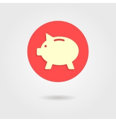 Piggy bank in the circle with shadow vector