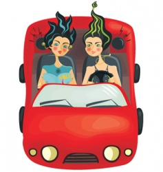 Girls driving car vector