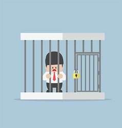 Businessman trapped in a cage vector