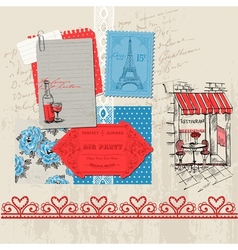 Paris vintage set vector
