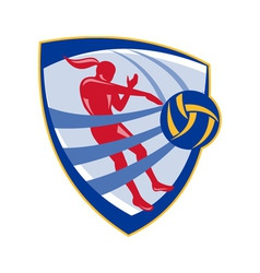Volleyball player spiking ball crest vector