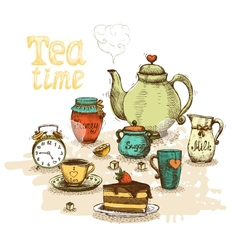 Tea time still life vector