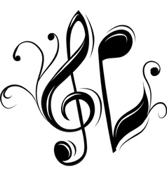 Treble clef and note vector