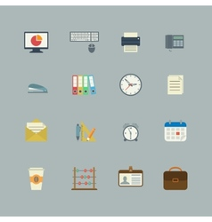 Business collection of flat stationery supplies vector