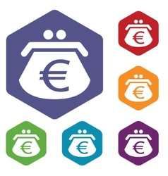 Euro purse rhombus icons vector