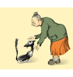 Grandmother with affection irons a cat vector