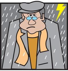 Man sitting in rain logo vector