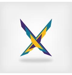 Letter x colored symbol vector