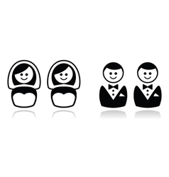 Gay and lesbian wedding icons set vector