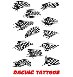Checkered flags tattoos vector