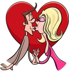 Kissing couple in love cartoon vector