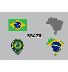 Map of brazil and symbol vector