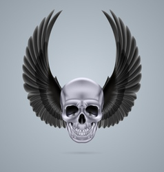 Metal chrome skull with two wings up vector