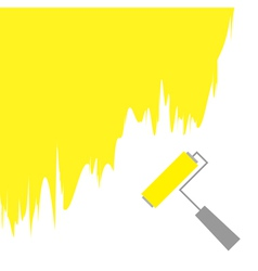 Yellow paint roller brush for text on the wall vector