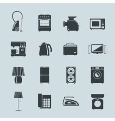 Set of household appliances silhouette icons vector