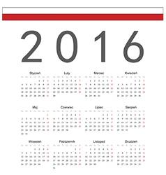 Square polish 2016 year calendar vector