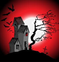 Halloween background with the scary house vector