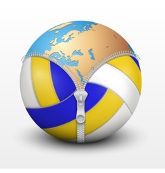 Planet earth inside volleyball ball vector