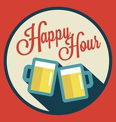 Happy hour with beer vector