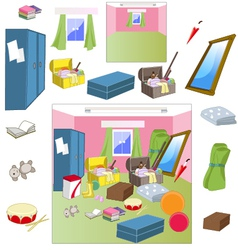 Attic room with worn accessories vector