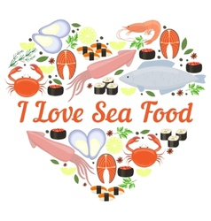 I love seafood heart design vector