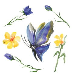 Blue butterfly and flowers vector