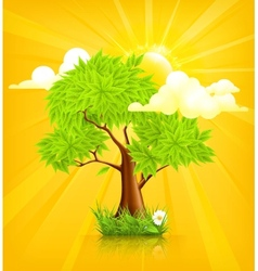 Sun and tree vector
