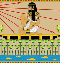 Egyptian girl on the boat vector
