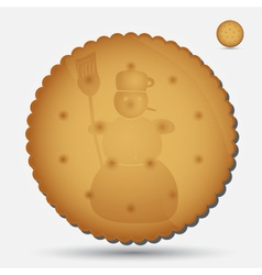 Christmas brown biscuit with snowman symbol eps10 vector